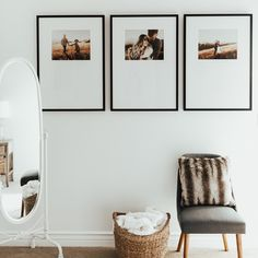 High-impact gallery wall for sophisticated, editorial style. Set of three Mercer Slim frames.