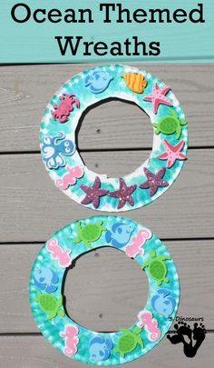 Ocean Themed Wreaths - Easy to make paper plate wreaths that kids can have fun making - Daycare Crafts, Toddler Crafts, Preschool Crafts, Water Theme Preschool, Diy Crafts, Summer Crafts For Kids, Spring Crafts, Summer Crafts For Preschoolers, Summer Fun
