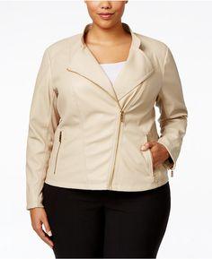 26804b8760610 Calvin Klein Plus Size Faux-Leather Moto Jacket