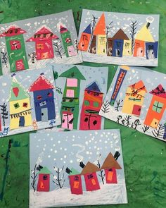Kindergarten collage winter houses Originally posted by Sonja Einerson on faceb. Winter Art Projects, Christmas Crafts For Kids, Christmas Art, Christmas Ideas, Kindergarten Collage, Winter Art Kindergarten, Kindergarten Activities, Classe D'art, Winter House