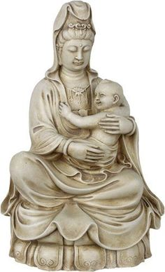 KuanYin with Baby Statue Stone * Click image to review more details.