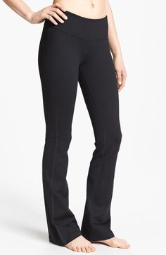 Zella 'Barely Flare Booty' Pants at Nordstrom.com. The flex-fit construction of favorite fitness pants creates a leg-lengthening silhouette with a compression waistband, snug fit through the hips and thighs, and subtle flare toward the hem. Cut from a moisture-wicking, four-way stretch fabric, the style takes you from workout to relaxing with ease.