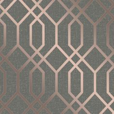 This Quartz Trellis Geometric Wallpaper in Copper and Charcoal Grey a classic geometric fretwork design with a modern twist of glitter and metallic elements. Geometric Wallpaper Copper, Grey And Gold Wallpaper, Charcoal Wallpaper, Vinyl Wallpaper, Glitter Wallpaper, Trendy Wallpaper, Bedroom Wallpaper, Feature Wallpaper, Tapete Gold