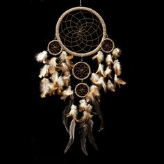 "Dream Catcher ~ Handmade Traditional String Natural Color 8.5""W x 22""L 