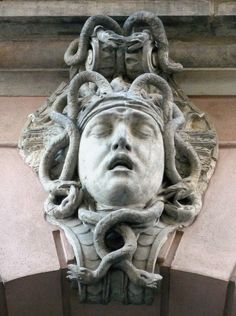 "Another mascaron from the Zeughaus (arsenal) in Berlin-Mitte, actual ""Deutsches Historisches Museum"" (German Historic Museum). Decorative sculpture ""Head of Meduse"", design by Andreas Schlüter (1659-1714)."