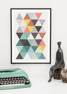 Abstract geometric print, Colorful minimalist art, Modern art poster, Scandinavian print. Modern geometric abstract poster print in Scandinavian style. Printed on heavyweight 230gsm matte photo paper, using archival inks. Prints are hand signed on back. Frame and decorations are no included. Thank you for looking on my art, please check the rest of my shop.