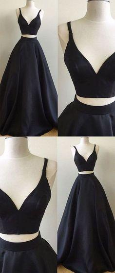Black Prom Dress,Two Pieces A Line Prom Dress,Custom Made Evening Dress,17008 #promdress #promgown #prom #dress #gown #longpartydress #charmingpromdress #elegantpromdress #navybluepromdress #twopiecepromgown #FancyGown