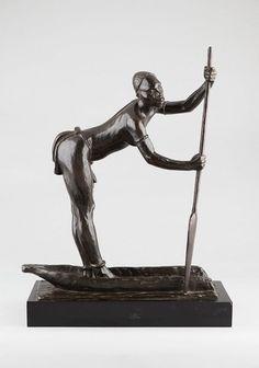 DUPAGNE Arthur, sculpture en bronze du 20e. Femme à la pirogue