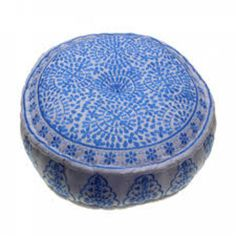 Trouva: Blue Embroidered Linen Pouf