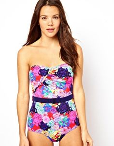 Penelope floral belted bandeau swimsuit, $50.91 at ASOS