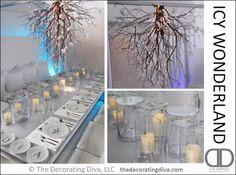 Icy Winter Wonderland Table Decorations | The Decorating Diva, LLC
