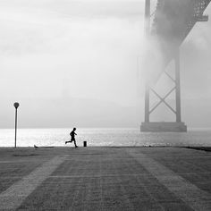 A misty day by Fernando Barnabe Misty Day, Lisbon, White Photography, Shadows, Silhouette, River, Black And White, Beach, Outdoor