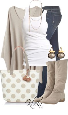 """Brahmin Frankie Polka Dot Tote""- I just love the soft neutrals of this outfit! And who couldn't love a polka-dot bag??"
