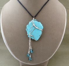 Sterling Silver Wrapped Turquoise Blue by ChickenLittleJewelry, $22.95