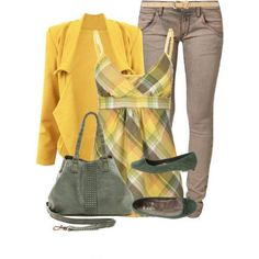 Autumn outfit - yellow really isn't my color, but this is cute.
