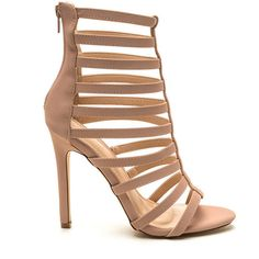 Cage Turner Velvet Heels NUDE ($28) ❤ liked on Polyvore featuring shoes, pumps, heels, tan, open toe shoes, caged pumps, stiletto pumps, high heels stilettos and velvet shoes