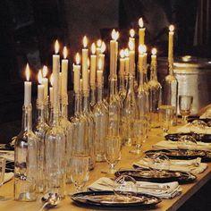 Empty Wine Bottle & Candle Centerpiece #weddingdecoration