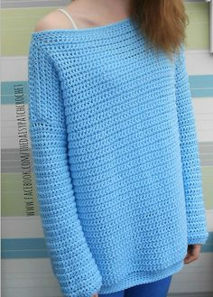 This is a PDF crochet pattern for an off the shoulder sweater. This is an over-sized sweater that you will find both comfortable & fashionable to wear. This is a perfect project for beginners with photo instructions throughout. There will be sewing involved at the end. PLEASE BE SURE TO TEST THE GAUGE!