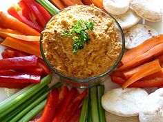 Spicy Roasted Red Pepper Hummus   Lisa's Kitchen   Vegetarian Recipes ...