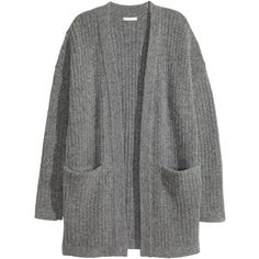 Knitted cardigan 159 ($40) ❤ liked on Polyvore featuring tops, cardigans, dark grey cardigan, long sleeve tops, dark gray cardigan, cardigan top and marled cardigan