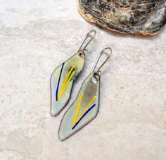 Rustic enameled copper yellow green blue earrings organic nature inspired copper enamel earrings fire patina rustic torched copper primitive