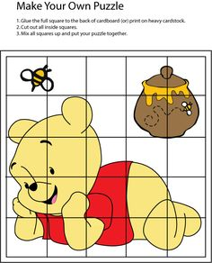 Winnie The Pooh Games, Winnie The Pooh Birthday, Maths Puzzles, Puzzles For Kids, Preschool Learning Activities, Preschool Worksheets, Make Your Own Puzzle, Pooh Bear, Classroom Themes
