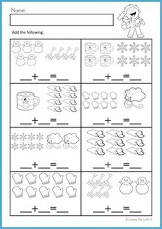 Math Worksheets & Activities - Winter (Beginning Skills). 43 pages. A page from the unit: Picture addition