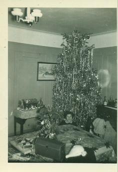 Vintage Christmas Photo ~ Girl with Tree, Nativity, Poinsettia Centerpiece * Circa, 1950's