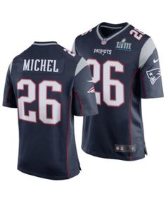 064aacb3ed1 Nike Men's Sony Michel New England Patriots Super Bowl Liii Patch Game  Jersey - Blue S