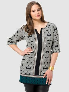 Zip Front Printed Tunic