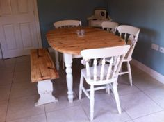 SHABBY CHIC EXTENDING PINE FARMHOUSE TABLE 4 CHAIRS & BENCH IN LAURA ASHLEY