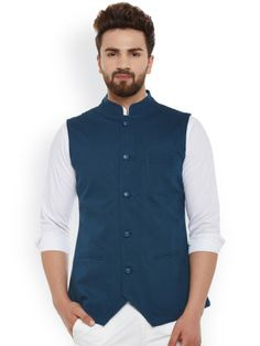 Buy Hypernation Teal Blue Nehru Jacket online in India at best price.Teal blue waistcoat , has a stylised stand collar, a full asymmetric zip closure with a full button Nehru Jacket For Men, Nehru Jackets, Kurta Pajama Men, Tweed Pants, Indian Wedding Outfits, Party Tops, Mens Fashion Suits, Jacket Pattern, Jackets Online