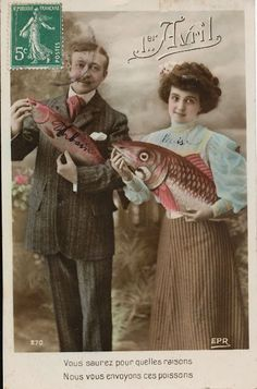 vintage everyday: 20 Hilarious Vintage French April Fools' Day Postcards