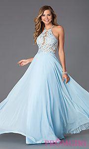 Buy Blush Exclusive Floor Length Dress with Lace Bodice at PromGirl