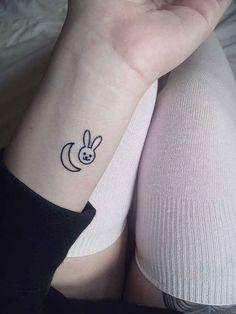 A tiny bunny and moon: