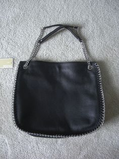 Michael Kors Large Chelsea Black Leather Top Zip Shoulder Bag #MichaelKors #ShoulderBag