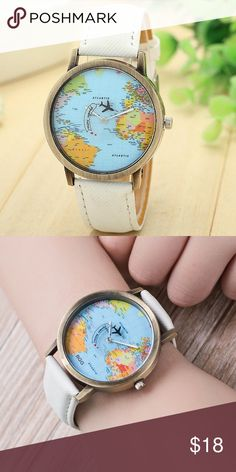 Women men unisex fashion vintage casual world map watch by airplane women men unisex fashion vintage casual world map watch by airplane belt dial analog quartz wrist watch for children and adults map watch and unisex gumiabroncs Gallery