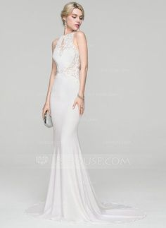 [US$ 147.49] Trumpet/Mermaid Scoop Neck Sweep Train Jersey Evening Dress With Beading Sequins
