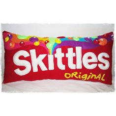 Skittles Pillow! ❤ liked on Polyvore featuring home, home decor, throw pillows, food, pillows, other and accessories