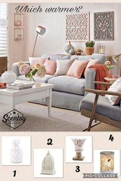 The living room color schemes to give the impression of a more colorful living. Find pretty living room color scheme ideas that speak your personality. Peach Living Rooms, Bold Living Room, Living Room Paint, Living Room Modern, Living Room Designs, Living Room Decor, Small Living, Copper And Grey Living Room, Grey Living Room With Color