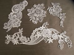 4 Pieces,White Appliques,Sewing,Scrapbooking,Bridal,Lace Embellishments