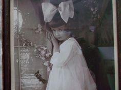 Wood Framed Little Girl Kindergraph Vintage Photograph circa 1919 Huge Silk Hair Bow Decorative