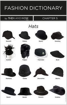 Types of Hats - Infographics - Fashion dictionary Pimp ya head history Fashion Terminology, Fashion Terms, Fashion 101, Fashion History, Fashion Ideas, Boho Fashion, 80s Fashion, Fashion Hacks, High Fashion