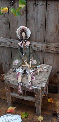 кукла тильда ручной работы купить тильда барышня зонтик винтажный стиль интерьерная кукла кукла в подарок подарок подруге осень осенние краски зонтик