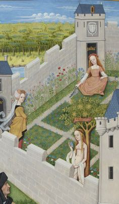 Ladies inside the castle walls Medieval Life, Medieval Art, Medieval Fantasy, Renaissance Art, Medieval Paintings, European Paintings, Medieval Manuscript, Illuminated Manuscript, Cosplay Anime
