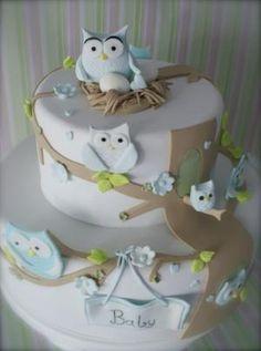 owl baby shower cake by ShelnSam