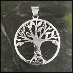 Family tree Celtic pendant in Sterling Silver, can fit up to ten birthstones!