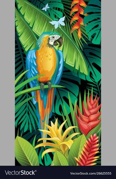 Background with tropical jungle plants and parrot Vector Image , Bird Painting Acrylic, Parrot Painting, Watercolor Art, Jungle Illustration, Jungle Art, Tropical Art, Plant Art, Leaf Art, Exotic Birds