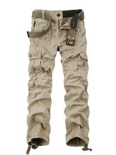 601c66cf48ad9 OCHENTA Men s Cotton Washed Multi Pockets Military Cargo Pant  3380 Khaki  44 Camouflage Cargo Pants