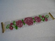 PDF for Peyote Bracelet Pattern  Rose Border in by SewBejeweled, $5.50